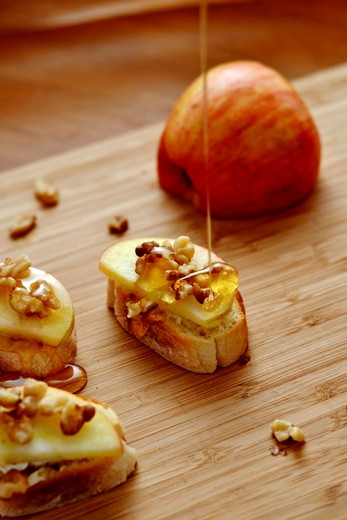 Brie, Apple, and Honey Crostini